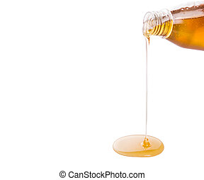 Pouring honey over white background