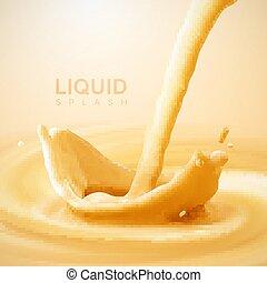 Pouring liquid crown splash on swirling whirlpool creamy background.