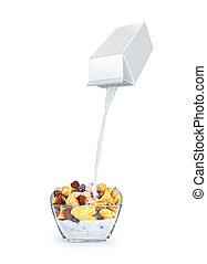 pouring milk into cornflakes bowl isolated on white