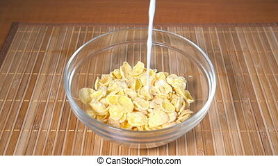 Pouring milk into Cornflakes, Slow Motion