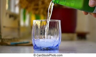 Pouring mineral water Slow Motion - Pouring mineral water...
