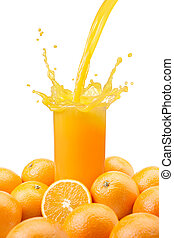 pouring orange juice - pouring a glass of orange juice ...