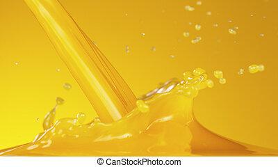 Pouring orange juice with splashing liquid