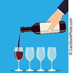 Pouring out red wine from a bottle in wineglasses