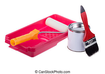 Pouring paint in a red plastic pan with roller isolated on...
