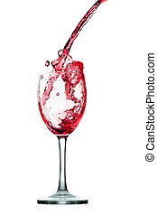 Pouring red wine in glass goblet isolated on white