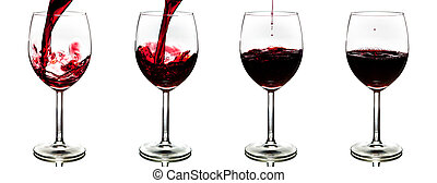 pouring red wine isolated