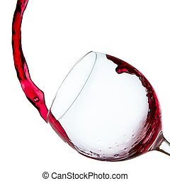 pouring red wine  - red wine poured into glass