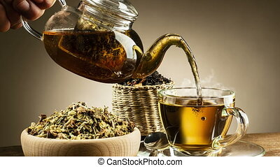 pouring tea - animated looping image, pouring hot tea into...