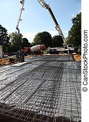Pouring the foundations of a house