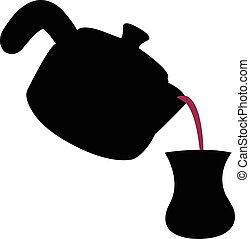 pouring the turkish tea