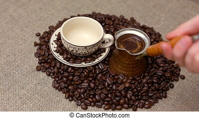 Turkish coffee and coffee beans