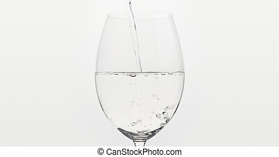 Pouring Water Into Wine Glass Over White Background Wide Photo