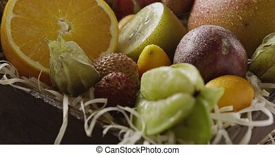 Pouring water on a fresh organic natural exotic fruits....