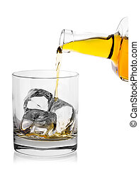 Pouring whiskey from bottle into glass with ice