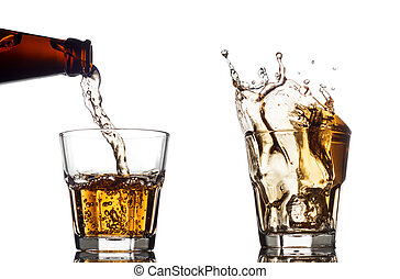 Pouring whiskey in a clear glass, on white background