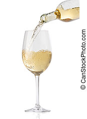 Pouring white wine into a glass, isolated on white...