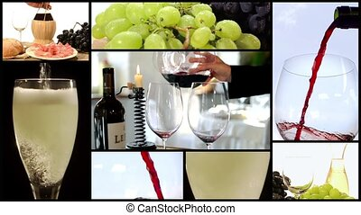 pouring wine, collage - Collage including pouring red wine...