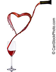 Pouring wine heart romantic shape to elegant glass