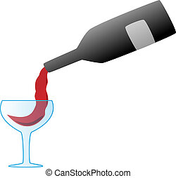 pouring red wine from bottle into transparent glass