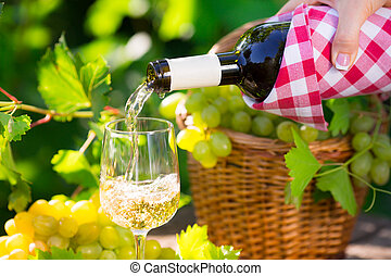 Pouring wine - Pouring white wine in glass outdoors