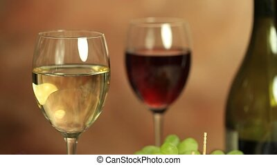 Pouring wine - Red and white wine still life