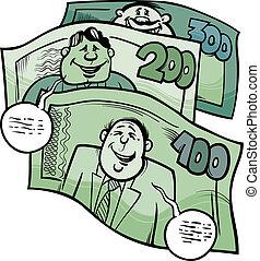 pourparlers, argent, dessin animé, illustration, proverbe