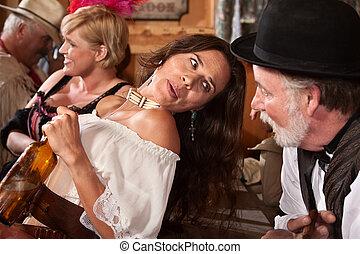 pourparlers, femme, barman