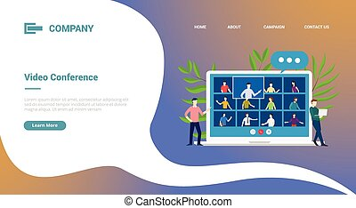 pourparlers, gabarit, page accueil, équipe, ou, site web, atterrissage, bannière, vidéo, ordinateur portable, conférence