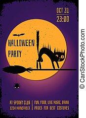 pourpre, affiche, balai, halloween, chat, arrière-plan., sorcière, fête, editable, conception, bannière, template., noir