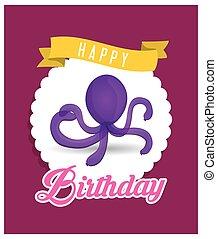 pourpre, balloon, anniversaire, poulpe, carte, heureux