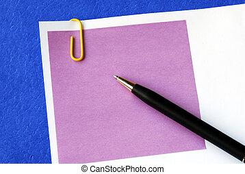 pourpre, bleu, note, isolé, collant