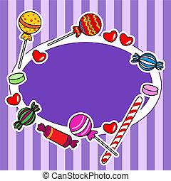 pourpre, bonbon, signe, couleurs, panneau affichage, ou
