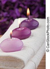 pourpre, bougies, (2), serviette, masage