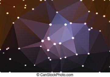 pourpre brun, lumières, arrière-plan noir, géométrique