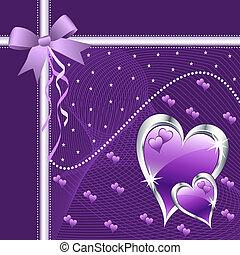 pourpre, cœurs, amour, bow.