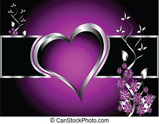 pourpre, cœurs, saint-valentin, fond