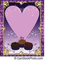 pourpre, carte, chocolat