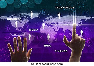 pourpre, carte, urgent, virtuel, main