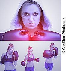 pourpre, collage, de, femme, boxe