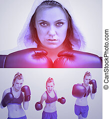 pourpre, collage, femme, boxe