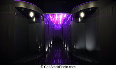 pourpre, couloir, espace