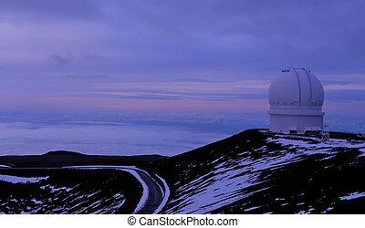 pourpre, crépuscule, observatoire, mauna kea