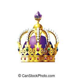 pourpre, cristaux, couronne