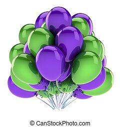 pourpre, décoration, fêtede l'anniversaire, green., ballons, heureux