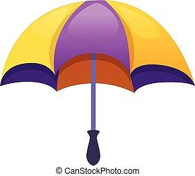 pourpre, dessin animé, parapluie, icône, style, jaune