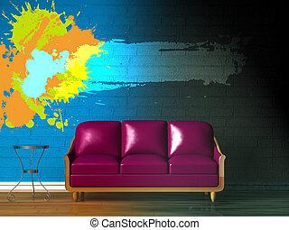 pourpre, divan, table, lcd, tv, et, lampe standard, dans,...