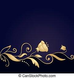 pourpre, doré, ornement, fond, floral