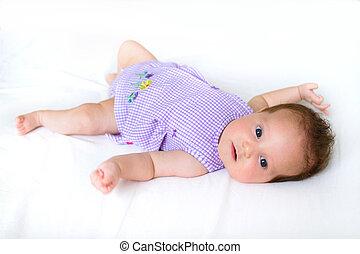 pourpre, doux, girl, robe, bébé