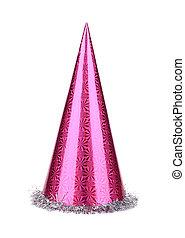 pourpre, fête, cone., chapeau